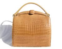 Versatile Light TAN 1960's LUCILLE de PARIS Alligator Belly Skin SHOULDER Bag Handbag