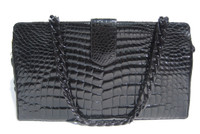 XL Jet BLACK 1990's Glossy CROCODILE Belly Skin Shoulder Bag CLUTCH Shoulder Bag!