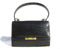 LEDERER 1950's-60's Jet Black CROCODILE Skin Shoulder Bag - Hermes Style