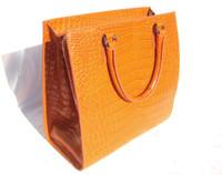 XL 2000's Bright ORANGE Matte Alligator Belly Skin Handbag - J. Tattanelli