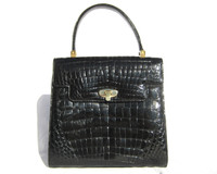 Petite Jet BLACK 1990's CROCODILE Belly Skin Handbag