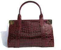 XL BURGUNDY RED 1990's ALLIGATOR Belly Skin Handbag - BALLY!