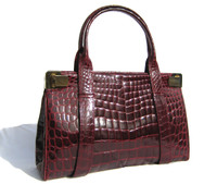 XL BURGUNDY RED 1990's ALLIGATOR Belly Skin Handbag - BALLY!