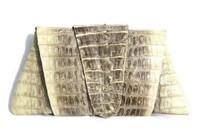 ROCKSTAR *Natural* Bone Cream Hornback CROCODILE TAIL Clutch