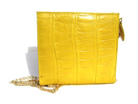 Mini YELLOW 2000's Handmade MAXIMA Alligator Belly Skin CROSS Body Shoulder Bag