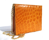Mini ORANGE 2000's Handmade MAXIMA Alligator Belly Skin CROSS Body Shoulder Bag