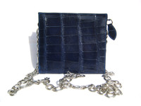 Mini ROYAL BLUE 2000's Handmade MAXIMA Alligator Belly Skin CROSS Body Shoulder Bag