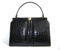Timeless Jet Black 1960's Structured Alligator Belly Skin Handbag
