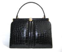 Timeless Jet Black 1960's Structured Alligator Belly Skin Handbag