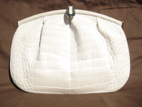 1990's CREAM BONE Crocodile Belly Skin Clutch Shoulder Bag