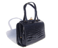 Petite Navy BLUE 1960's CROCODILE Belly Skin Handbag