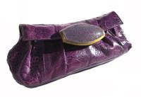 R & Y AUGOUSTI PURPLE Ostrich Leg & Stingray Skin Clutch