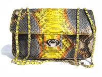 Gorgeous Chanel-Style Early 2000's Yellow Gray PYTHON Skin Shoulder Cross Body Bag