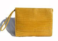 Glossy 1990's Buttercup YELLOW Crocodile Belly Skin CLUTCH Bag