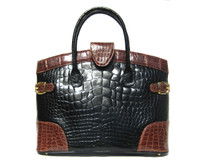 XL COLOR BLOCK Brown & Black CROCODILE Belly Skin SATCHEL Handbag