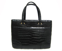 2000's Matte Jet Black ALLIGATOR Belly Skin Handbag