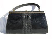 Jet BLACK 1960's HORNBACK Crocodile Skin Handbag Clutch