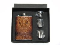 Custom Whiskey Brown HORNBACK Alligator Skin 8 Oz. Stainless Hip FLASK Set - NEW!