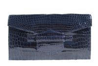 Chic NAVY BLUE 1990's-2000's Glossy ALLIGATOR Belly Skin CLUTCH Bag