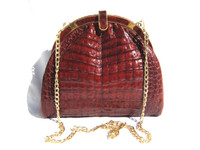 Burnt RED -  1990's CROCODILE Belly Skin Shoulder Cross Body Bag
