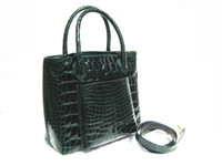 Remarkable GREEN 14 x 11 ALLIGATOR Belly Skin Handbag Shoulder Bag - MAXIMA