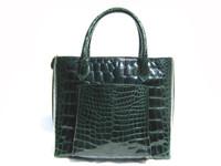 Remarkable GREEN 14 x 11 ALLIGATOR Belly Skin Handbag Shoulder Bag - MAXIMA