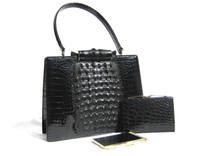 Outstanding JET BLACK 1960's Hornback ALLIGATOR Skin Handbag w/Wallet & Notepad - Horned Clasp!
