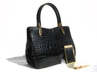 Gorgeous ROSENFELD 1950's-60's Jet BLACK Alligator Belly Skin Handbag w/Matching Notepad & Accessories!