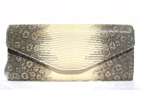 LAI Cream & Gray Early 2010's Ring Lizard Skin CLUTCH Shoulder Bag w/Silver Chain Strap