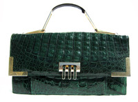 MOD Dark GREEN 1980's CROCODILE Caiman Skin Handbag SHOULDER Bag