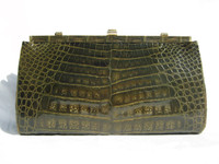 Lovely 1950's-60's Army GREEN Crocodile Skin CLUTCH Handbag