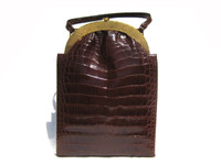 ROSENFELD 1950s-60's Chocolate ALLIGATOR Skin Handbag w/ Box!