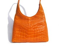 Stunning 2000's Bright ORANGE Alligator Belly Skin Shoulder Bag - HELENE