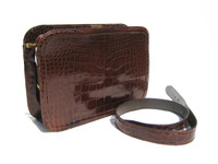 COBLENTZ 1950's-60's Chocolate Brown Alligator Belly Skin Clutch Shoulder Bag!