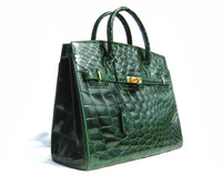 XXL Early 2000's Stunning GREEN CROCODILE Belly Skin BIRKIN Style Bag SATCHEL - OLOP - ITALY