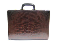 Chocolate Brown 1990's ALLIGATOR Belly Skin Hard-Sided BRIEFCASE Attache Case - Combination Locks!