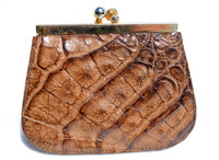 1980's Whiskey Brown Crocodile Skin Change Purse