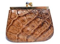 1980's Whiskey Brown Crocodile Skin Change Purse