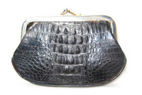 1940's-50's BLACK Hornback Alligator Skin Change Purse