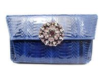 Electric BLUE Jeweled 1980's-90's Cobra Snake Skin Clutch Shoulder Bag - J. Renee