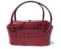 Lovely RED 1940's-50's Art Deco Style Cobra Snake Skin Handbag