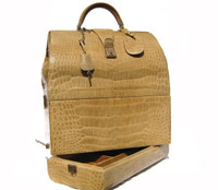 XXL 1950'-60's TAN Blonde Crocodile Porosus Belly Skin SAC MALLETTE Travel Bag Case