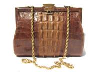 Lovely 1940's-50's HORNBACK Alligator TAIL Skin Shoulder Bag w/Chain!