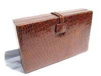 Beautiful RARE 1930's-40's Chestnut Brown CROCODILE Skin Jewelry Box Travel Case