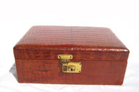 Beautiful 1930's-40's Chestnut Alligator Skin Jewelry Case