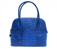 NEW Cobalt BLUE Hornback Crocodile Skin Satchel Shoulder Bag - BOLIDE Style!