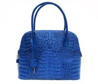 NEW Cobalt BLUE Hornback Crocodile Skin Satchel Shoulder Bag - BOLIDE Style!