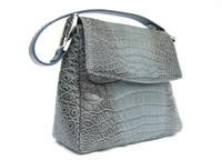 New! Denim Blue & Grey Alligator Belly Skin Shoulder Bag - Silver Hardware!