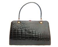 XL Classic 1950s-60's Espresso Brown Crocodile Skin Handbag - Grimaldi - Gimbel Brothers