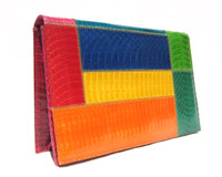 Vibrant COLOR BLOCK 1980's-90's COBRA Snake Skin CLUTCH Shoulder Bag - J Renee